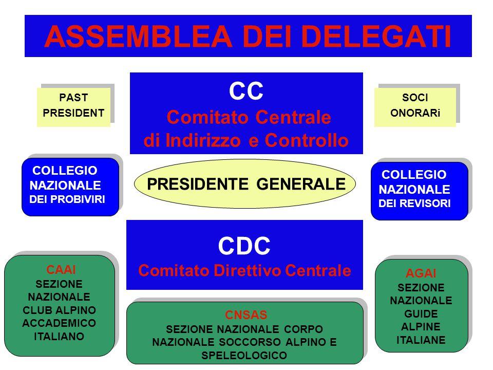 ASSEMBLEA DEI DELEGATI PAST PRESIDENT PAST PRESIDENT CC Comitato Centrale di Indirizzo e Controllo PRESIDENTE GENERALE CAAI SEZIONE NAZIONALE CLUB ALPINO ACCADEMICO ITALIANO CAAI SEZIONE NAZIONALE CLUB ALPINO ACCADEMICO ITALIANO COLLEGIO NAZIONALE DEI PROBIVIRI COLLEGIO NAZIONALE DEI PROBIVIRI SOCI ONORARi SOCI ONORARi COLLEGIO NAZIONALE DEI REVISORI COLLEGIO NAZIONALE DEI REVISORI AGAI SEZIONE NAZIONALE GUIDE ALPINE ITALIANE AGAI SEZIONE NAZIONALE GUIDE ALPINE ITALIANE CNSAS SEZIONE NAZIONALE CORPO NAZIONALE SOCCORSO ALPINO E SPELEOLOGICO CNSAS SEZIONE NAZIONALE CORPO NAZIONALE SOCCORSO ALPINO E SPELEOLOGICO CDC Comitato Direttivo Centrale