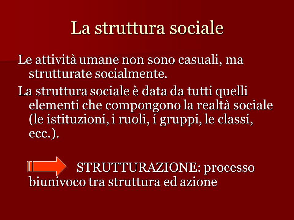 La struttura sociale Le attività umane non sono casuali, ma strutturate socialmente. La struttura sociale è data da tutti quelli elementi che compongo