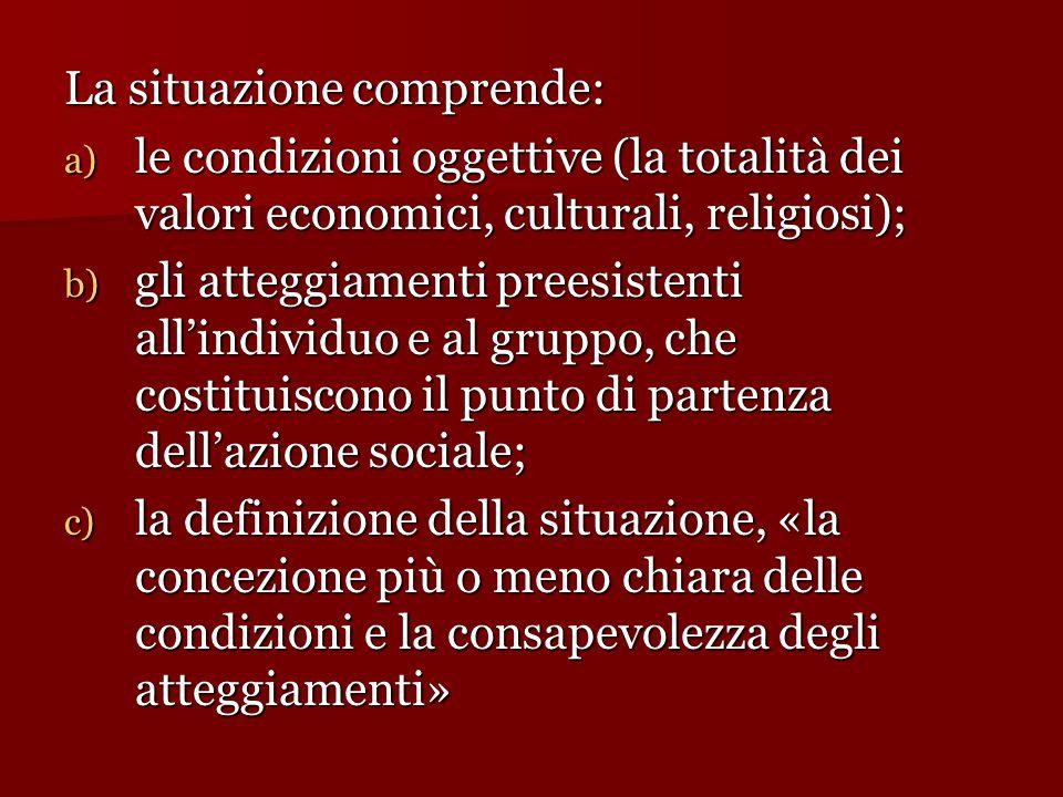 La situazione comprende: a) le condizioni oggettive (la totalità dei valori economici, culturali, religiosi); b) gli atteggiamenti preesistenti all'in