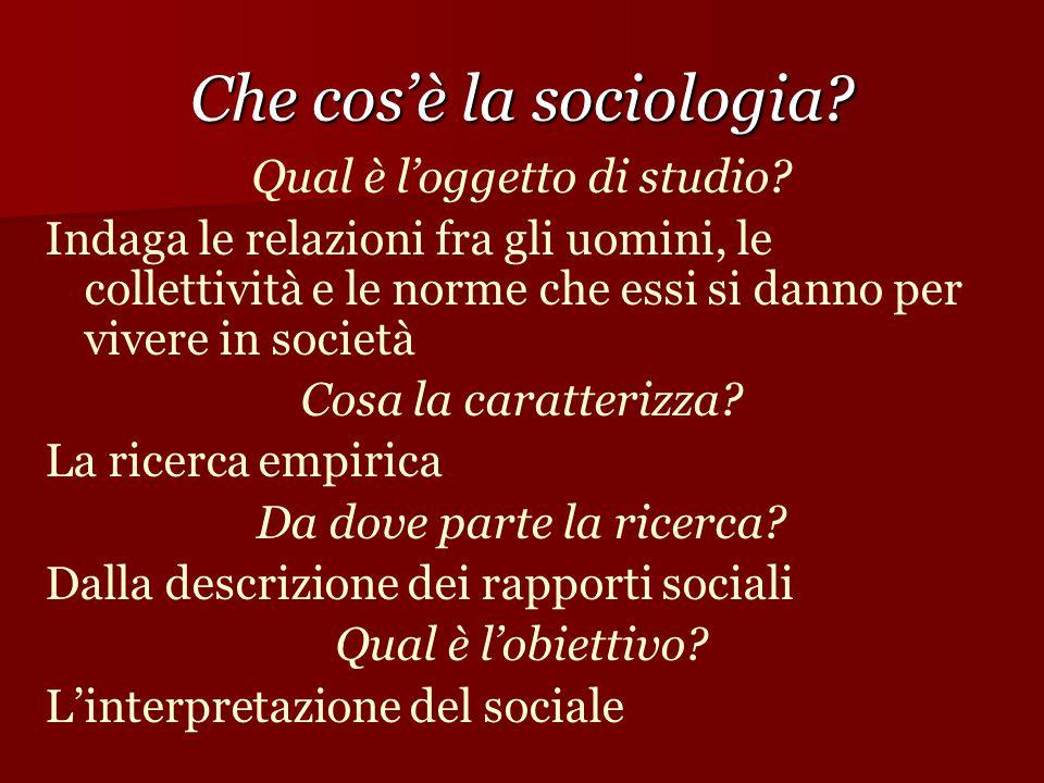 Che cos'è la sociologia? Qual è l'oggetto di studio? Indaga le relazioni fra gli uomini, le collettività e le norme che essi si danno per vivere in so