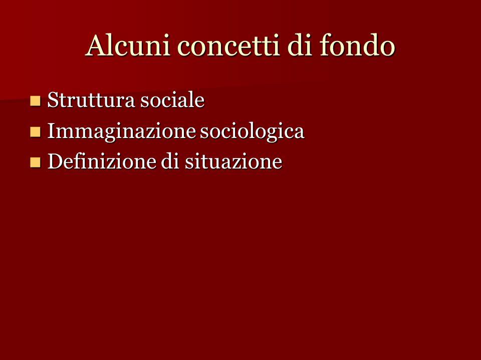 Alcuni concetti di fondo Struttura sociale Struttura sociale Immaginazione sociologica Immaginazione sociologica Definizione di situazione Definizione di situazione