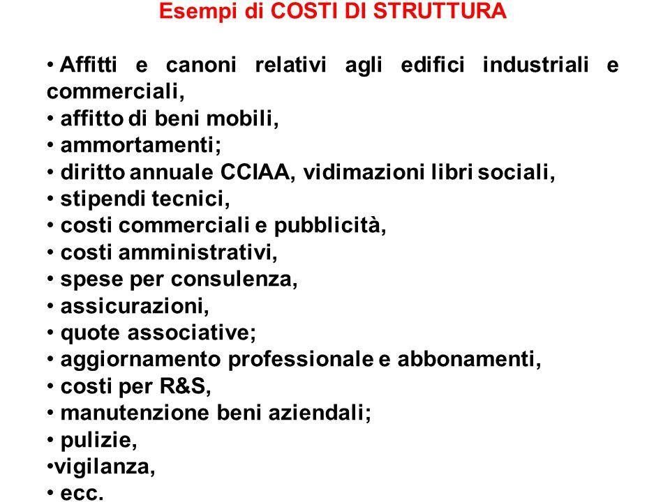 Quantità prodotte COSTI TOTALICOSTI UNITARIRicavo totale CUCScucsTotale 10.0001.000.000100.000100101102.500.000 25.0002.500.000100.00010041046.250.000 50.0005.000.000100.000100210212.500.000 ESERCIZIO Un azienda per produrre tavoli da ping pong sostiene i seguenti costi: di utilizzo della struttura unitari per € 100; di struttura per € 100.000.