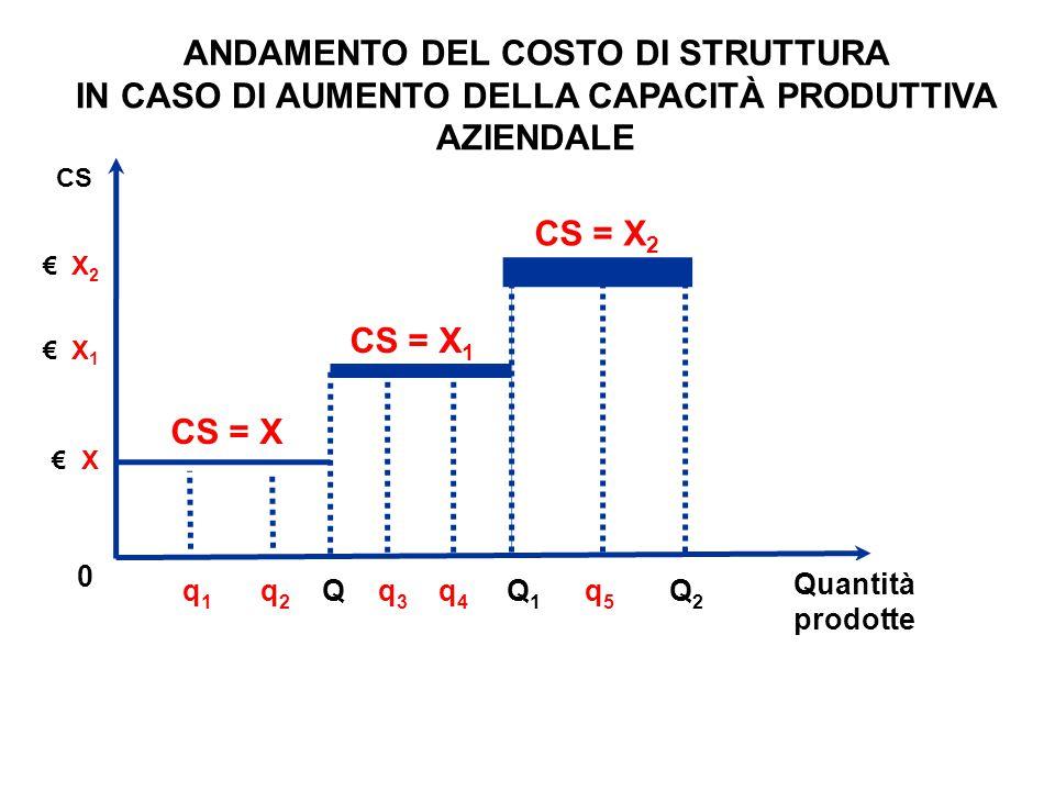 CS € X 2 € X 1 Quantità prodotte CS = X CS = X 1 CS = X 2 0 ANDAMENTO DEL COSTO DI STRUTTURA IN CASO DI AUMENTO DELLA CAPACITÀ PRODUTTIVA AZIENDALE €