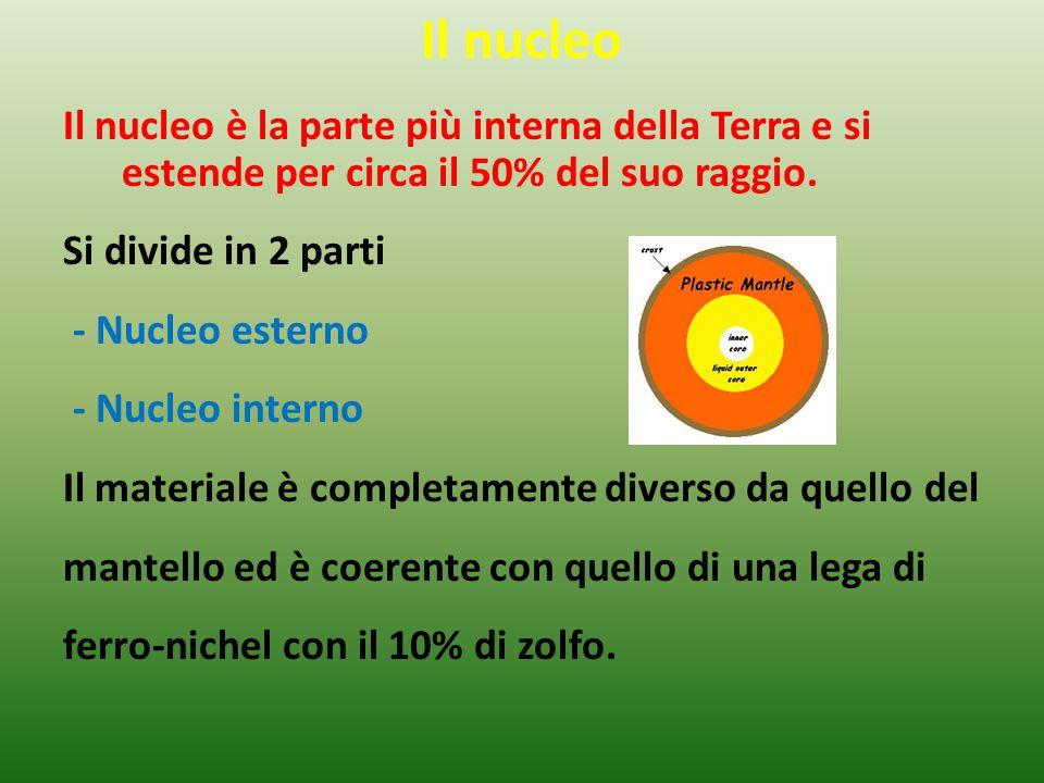 Il nucleo Il nucleo è la parte più interna della Terra e si estende per circa il 50% del suo raggio. Si divide in 2 parti - Nucleo esterno - Nucleo in