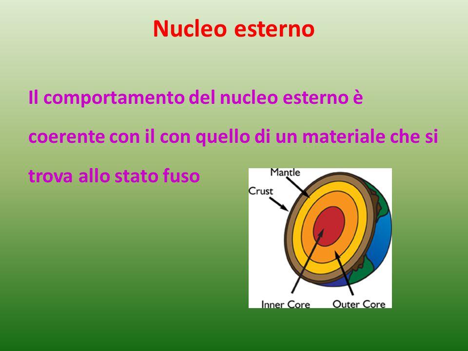 Nucleo esterno Il comportamento del nucleo esterno è coerente con il con quello di un materiale che si trova allo stato fuso