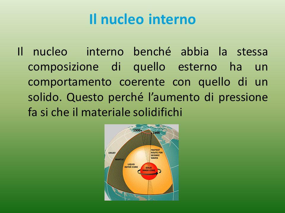 Il nucleo interno Il nucleo interno benché abbia la stessa composizione di quello esterno ha un comportamento coerente con quello di un solido. Questo