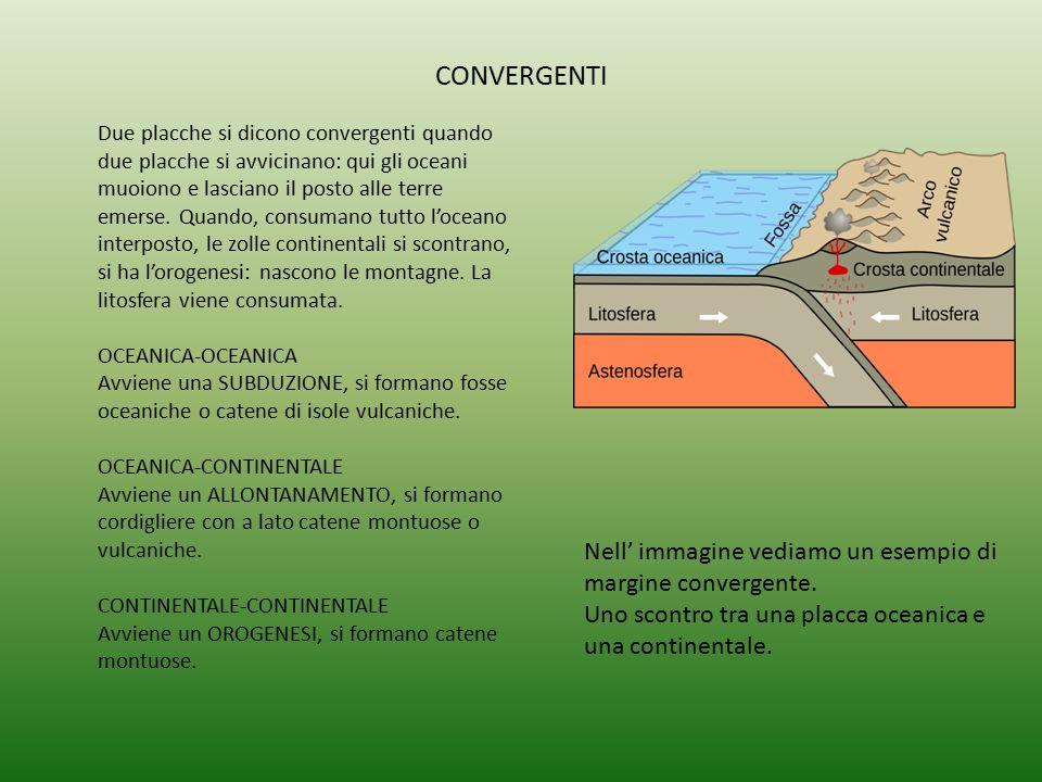 CONVERGENTI Nell' immagine vediamo un esempio di margine convergente. Uno scontro tra una placca oceanica e una continentale. Due placche si dicono co