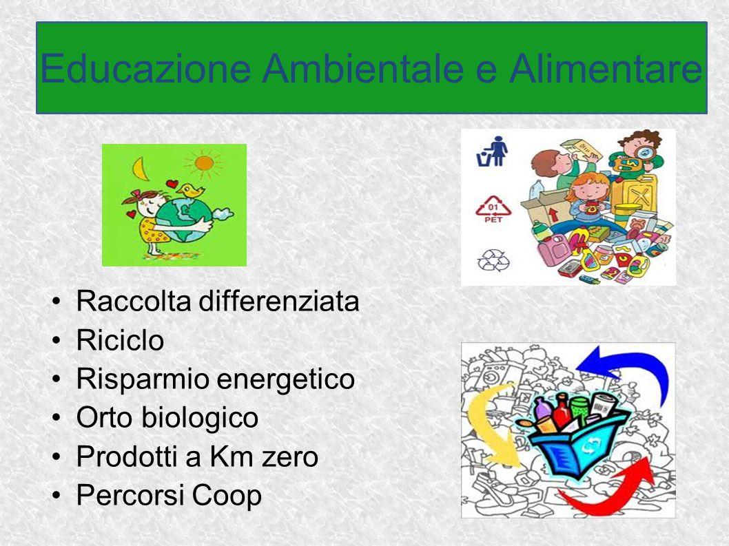 Raccolta differenziata Riciclo Risparmio energetico Orto biologico Prodotti a Km zero Percorsi Coop Educazione Ambientale e Alimentare