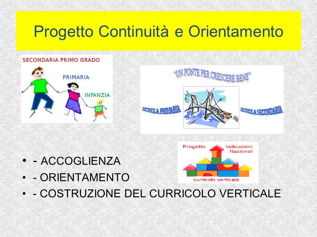 - ACCOGLIENZA - ORIENTAMENTO - COSTRUZIONE DEL CURRICOLO VERTICALE Progetto Continuità e Orientamento