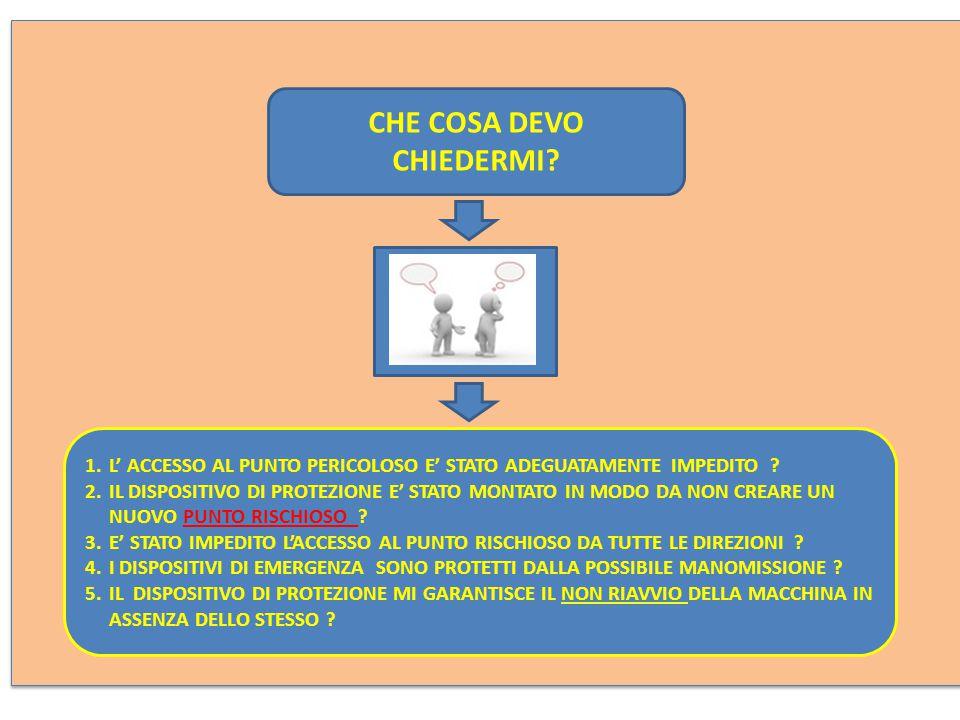CHE COSA DEVO CHIEDERMI.1.L' ACCESSO AL PUNTO PERICOLOSO E' STATO ADEGUATAMENTE IMPEDITO .