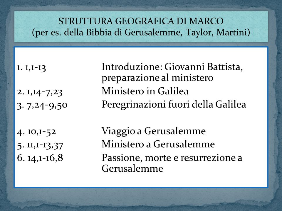1. 1,1-13Introduzione: Giovanni Battista, preparazione al ministero 2. 1,14-7,23Ministero in Galilea 3. 7,24-9,50Peregrinazioni fuori della Galilea 4.