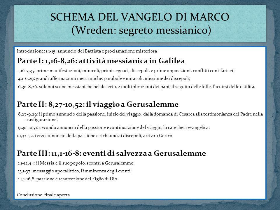 Introduzione: 1,1-15: annuncio del Battista e proclamazione misteriosa Parte I: 1,16-8,26: attività messianica in Galilea 1,16-3,35: prime manifestazi