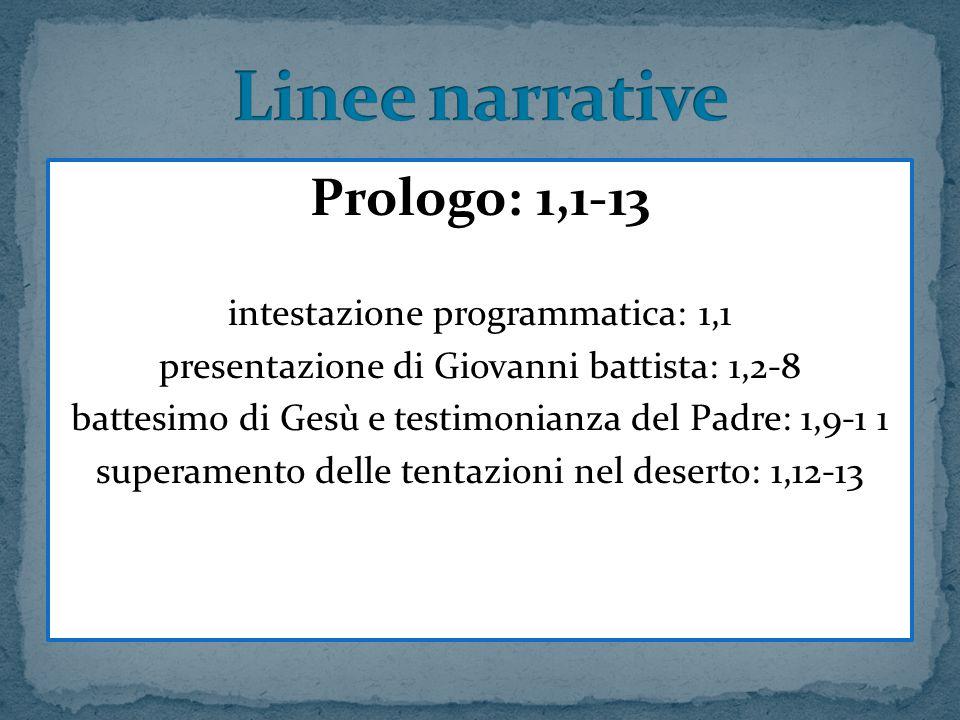 Prologo: 1,1-13 intestazione programmatica: 1,1 presentazione di Giovanni battista: 1,2-8 battesimo di Gesù e testimonianza del Padre: 1,9-1 1 superam