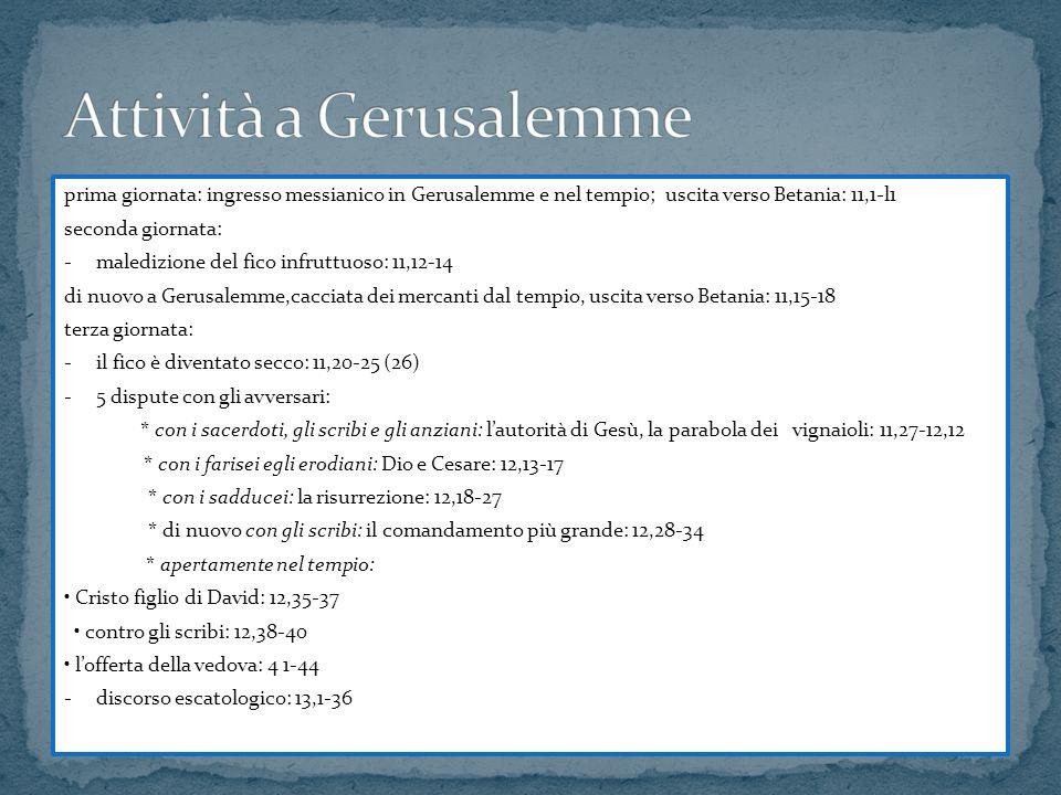 prima giornata: ingresso messianico in Gerusalemme e nel tempio; uscita verso Betania: 11,1-l1 seconda giornata: -maledizione del fico infruttuoso: 11