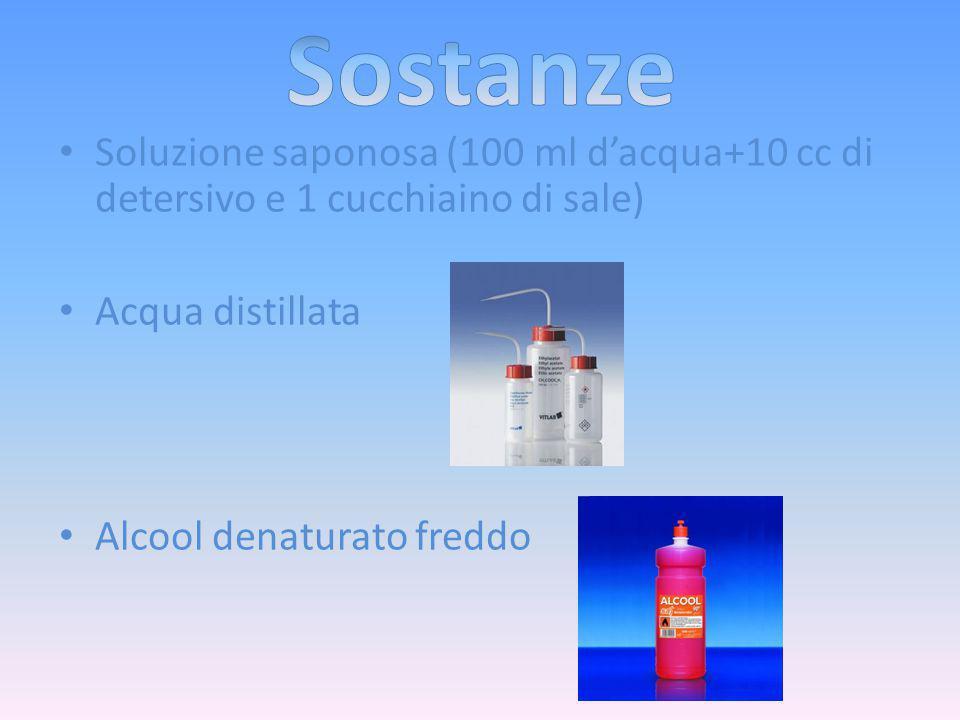 Soluzione saponosa (100 ml d'acqua+10 cc di detersivo e 1 cucchiaino di sale) Acqua distillata Alcool denaturato freddo