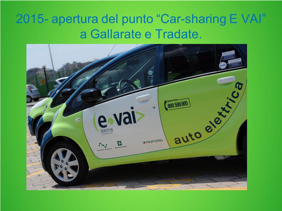 2015- apertura del punto Car-sharing E VAI a Gallarate e Tradate.