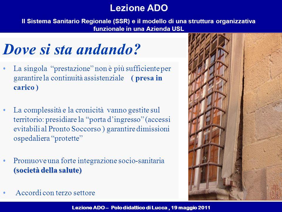 Lezione ADO – Polo didattico di Lucca, 19 maggio 2011 Lezione ADO Il Sistema Sanitario Regionale (SSR) e il modello di una struttura organizzativa funzionale in una Azienda USL Dove si sta andando.