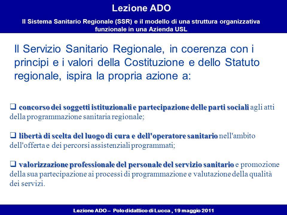 Lezione ADO – Polo didattico di Lucca, 19 maggio 2011 Lezione ADO Il Sistema Sanitario Regionale (SSR) e il modello di una struttura organizzativa funzionale in una Azienda USL Garantire la continuità delle cure (dialogo tra professionisti) INTERDISCIPLINARIETA' Garantire la continuità dell'assistenza (dialogo tra i diversi livelli organizzativi (ospedale - territorio - cure intermedie - interventi sociali) Garantire l'integrazione istituzionale (Enti locali ASL Terzo settore) Unica cabina di regia
