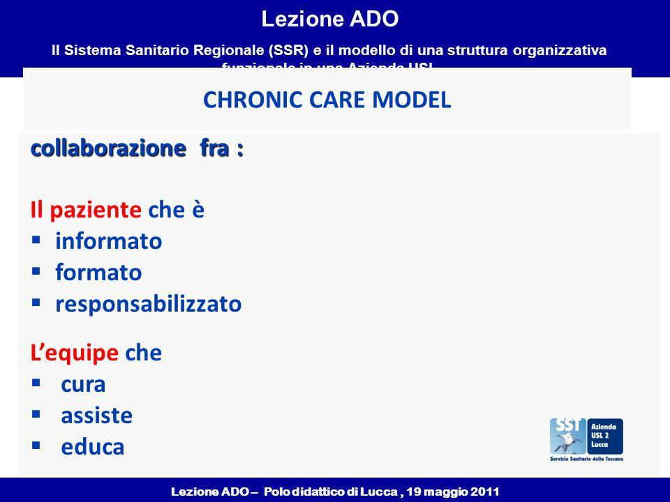 Lezione ADO – Polo didattico di Lucca, 19 maggio 2011 Lezione ADO Il Sistema Sanitario Regionale (SSR) e il modello di una struttura organizzativa funzionale in una Azienda USL CHRONIC CARE MODEL collaborazione fra : Il paziente che è  informato  formato  responsabilizzato L'equipe che  cura  assiste  educa