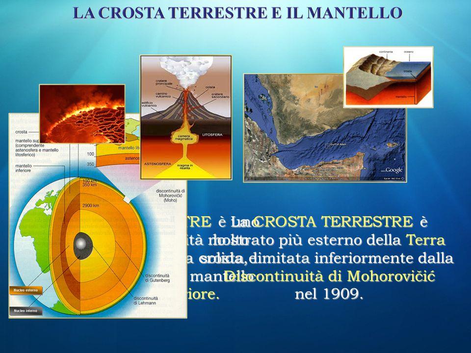 La LITOSFERA è la parte solida e inorganica della Terra: comprende la Crosta Terrestre e la parte più superficiale del Mantello Superiore.