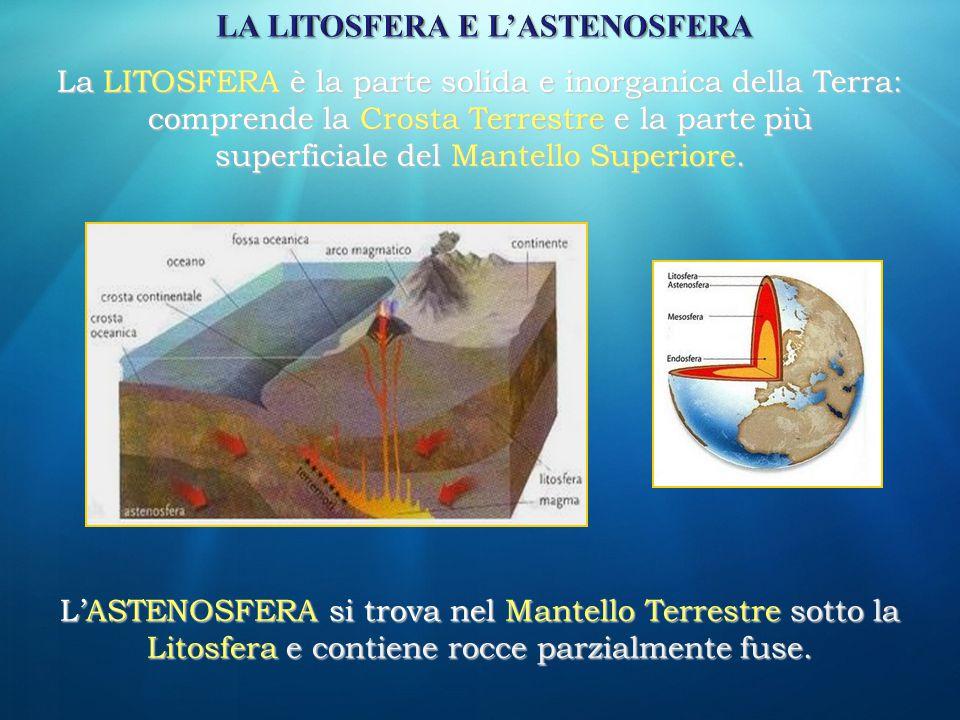 La LITOSFERA è la parte solida e inorganica della Terra: comprende la Crosta Terrestre e la parte più superficiale del Mantello Superiore. L'ASTENOSFE
