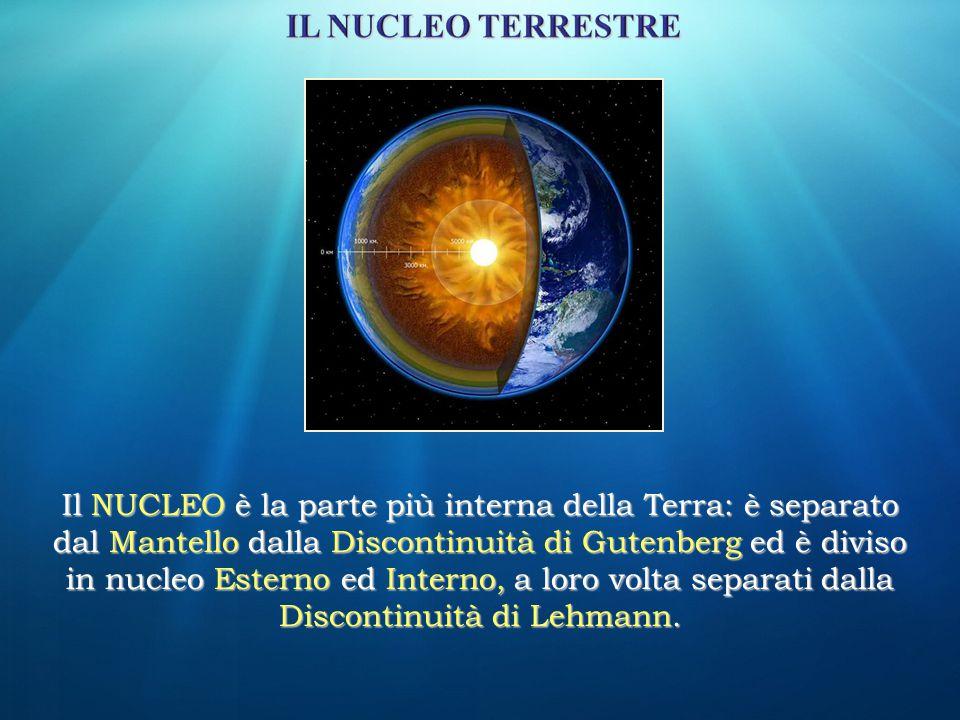 Il NUCLEO è la parte più interna della Terra: è separato dal Mantello dalla Discontinuità di Gutenberg ed è diviso in nucleo Esterno ed Interno, a lor