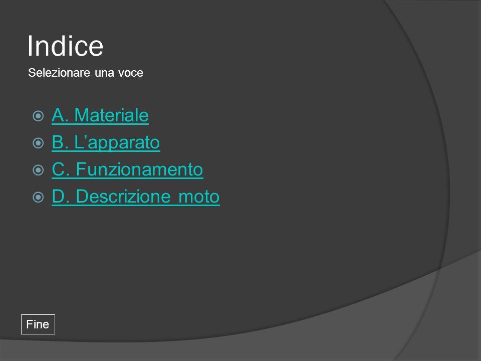 Indice Selezionare una voce Fine  A. Materiale A. Materiale  B. L'apparato B. L'apparato  C. Funzionamento C. Funzionamento  D. Descrizione moto D