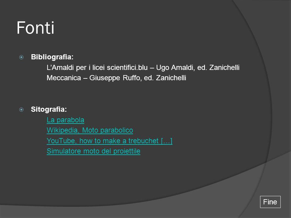 Fonti  Bibliografia: L'Amaldi per i licei scientifici.blu – Ugo Amaldi, ed. Zanichelli Meccanica – Giuseppe Ruffo, ed. Zanichelli  Sitografia: La pa
