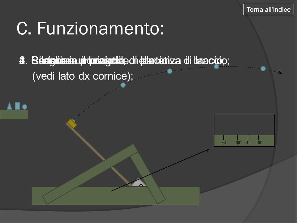 P C. Funzionamento: 1. Caricare un proiettile nella stiva di lancio; P Torna all'indice 60°30°90° 45° 2. Portare in posizione di partenza il braccio;3