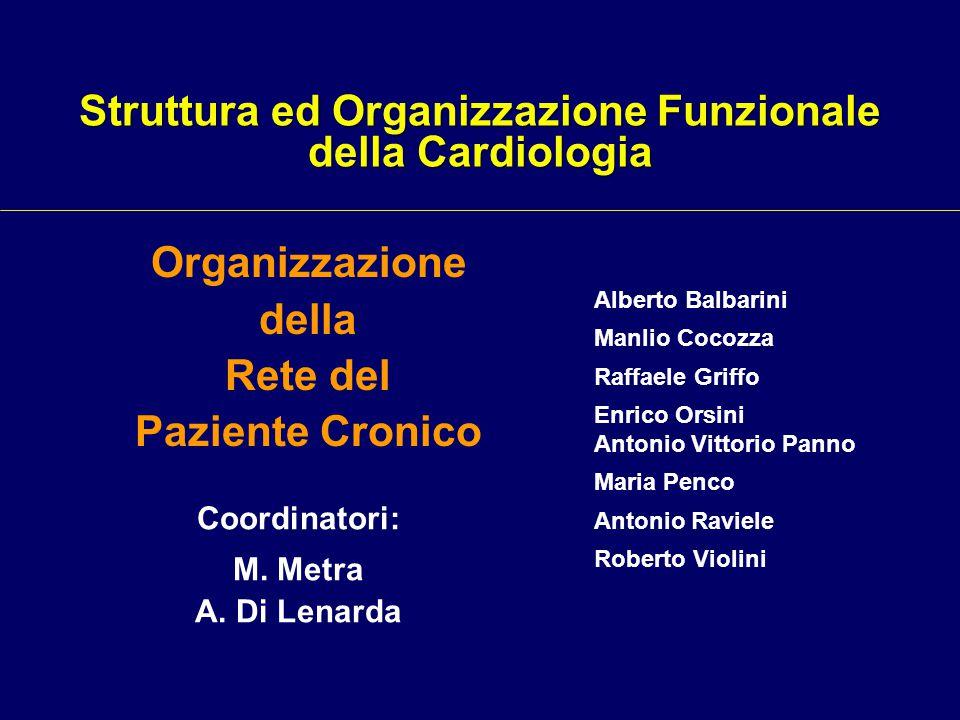 Coordinatori: M. Metra A. Di Lenarda Organizzazione della Rete del Paziente Cronico Alberto Balbarini Manlio Cocozza Raffaele Griffo Enrico Orsini Ant