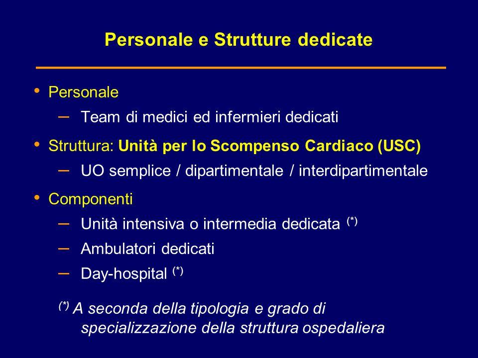 Personale e Strutture dedicate Personale – Team di medici ed infermieri dedicati Struttura: Unità per lo Scompenso Cardiaco (USC) – UO semplice / dipa