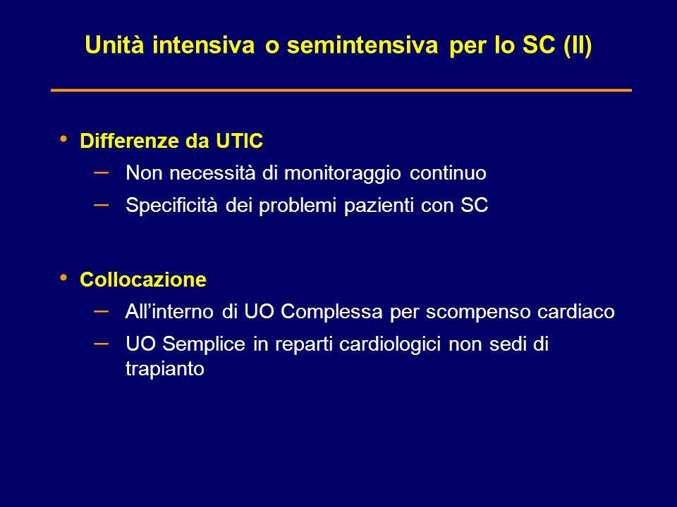 Unità intensiva o semintensiva per lo SC (II) Differenze da UTIC – Non necessità di monitoraggio continuo – Specificità dei problemi pazienti con SC C