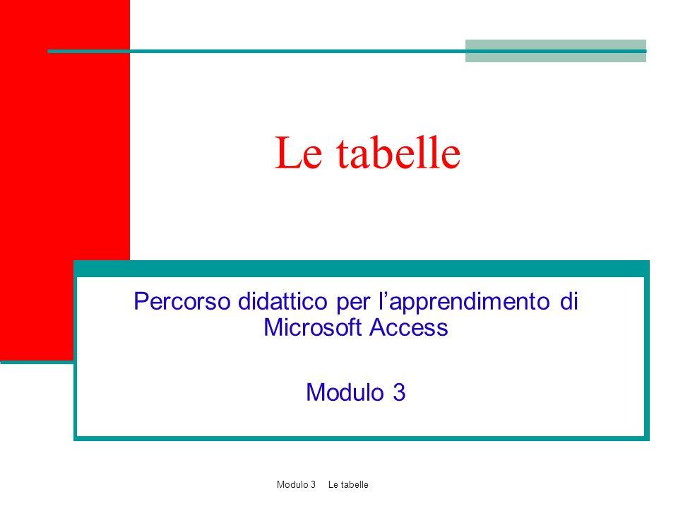 Obiettivi Popolare un database creando le tabelle per l'archiviazione dei dati Impostare le proprietà dei campi secondo criteri di efficienza e di affidabilità 2 Modulo 3 Le tabelle
