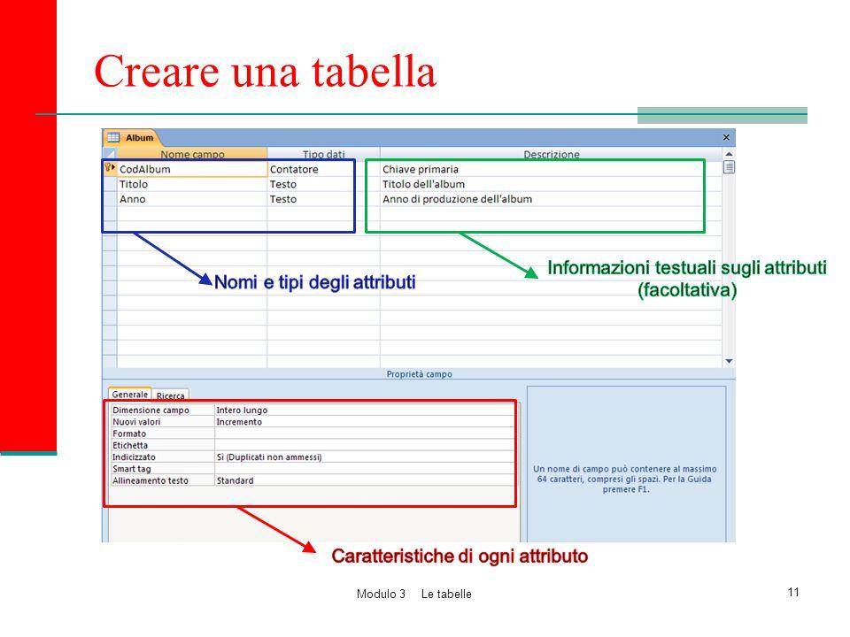 Creare una tabella 11 Modulo 3 Le tabelle