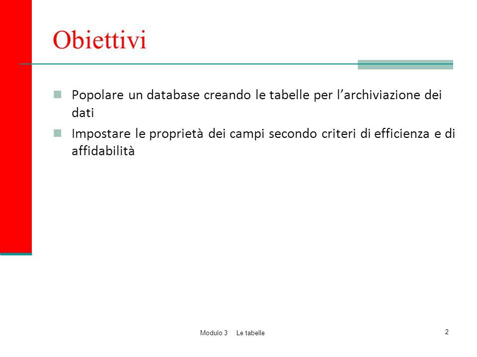 Obiettivi Popolare un database creando le tabelle per l'archiviazione dei dati Impostare le proprietà dei campi secondo criteri di efficienza e di aff