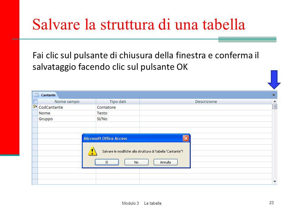 Salvare la struttura di una tabella Fai clic sul pulsante di chiusura della finestra e conferma il salvataggio facendo clic sul pulsante OK 23 Modulo