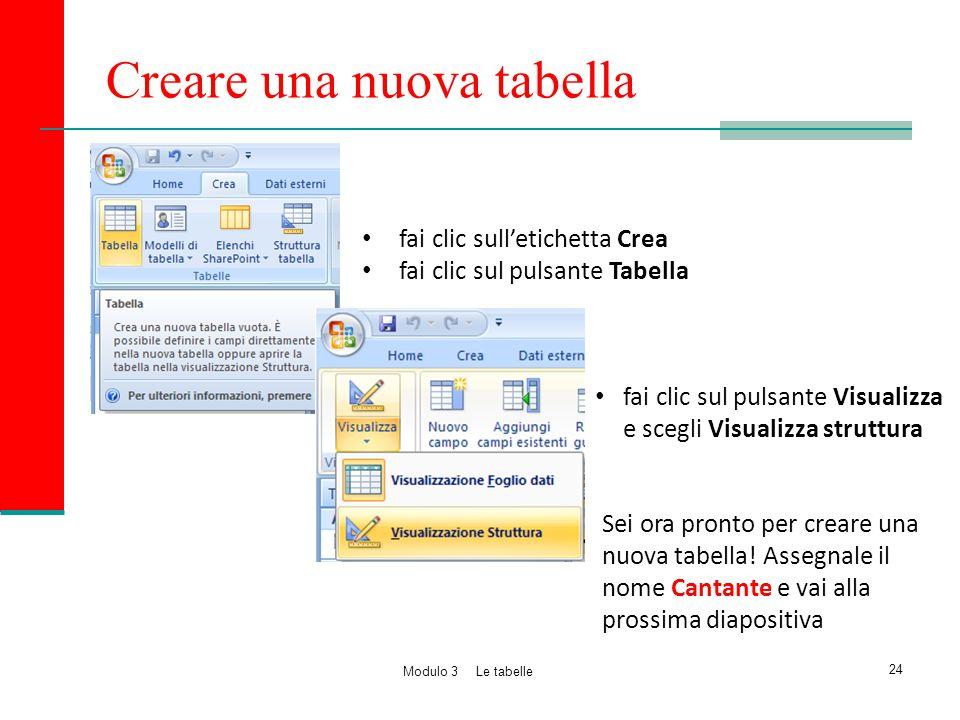 Creare una nuova tabella fai clic sull'etichetta Crea fai clic sul pulsante Tabella fai clic sul pulsante Visualizza e scegli Visualizza struttura Sei