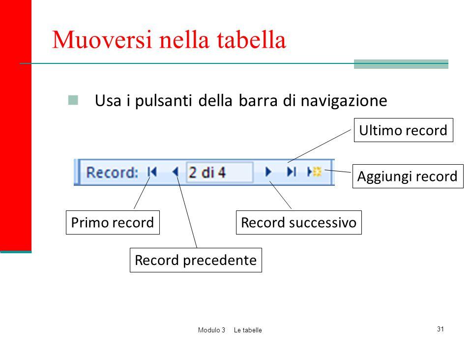 Muoversi nella tabella Usa i pulsanti della barra di navigazione Primo record Record precedente Record successivo Aggiungi record 31 Modulo 3 Le tabel
