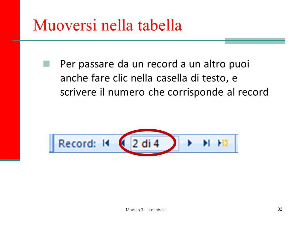Muoversi nella tabella Per passare da un record a un altro puoi anche fare clic nella casella di testo, e scrivere il numero che corrisponde al record