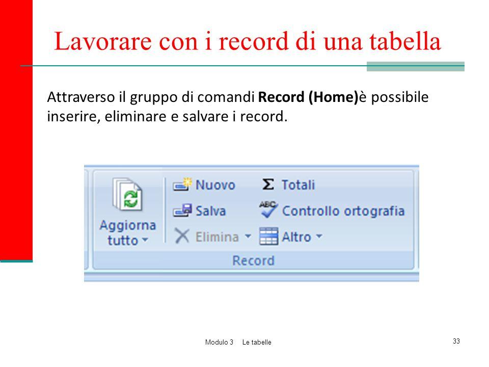 Lavorare con i record di una tabella Attraverso il gruppo di comandi Record (Home)è possibile inserire, eliminare e salvare i record. 33 Modulo 3 Le t