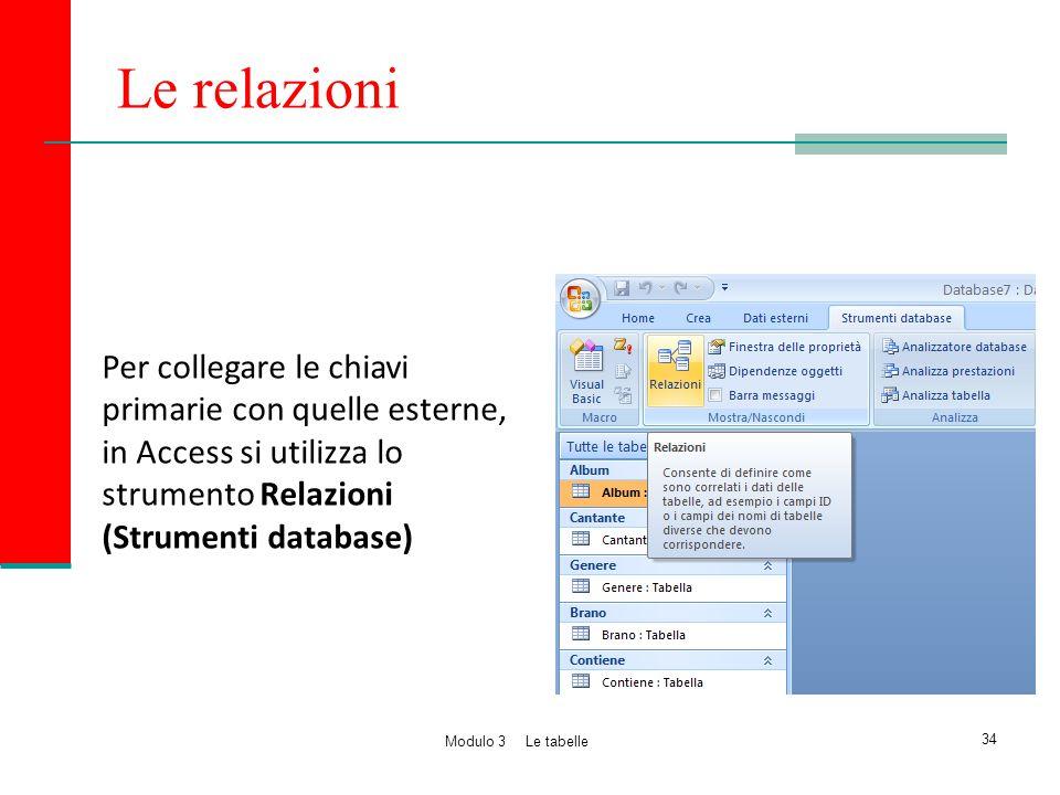 Le relazioni Per collegare le chiavi primarie con quelle esterne, in Access si utilizza lo strumento Relazioni (Strumenti database) 34 Modulo 3 Le tab