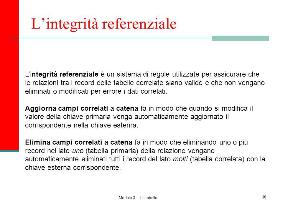 L'integrità referenziale L'integrità referenziale è un sistema di regole utilizzate per assicurare che le relazioni tra i record delle tabelle correla