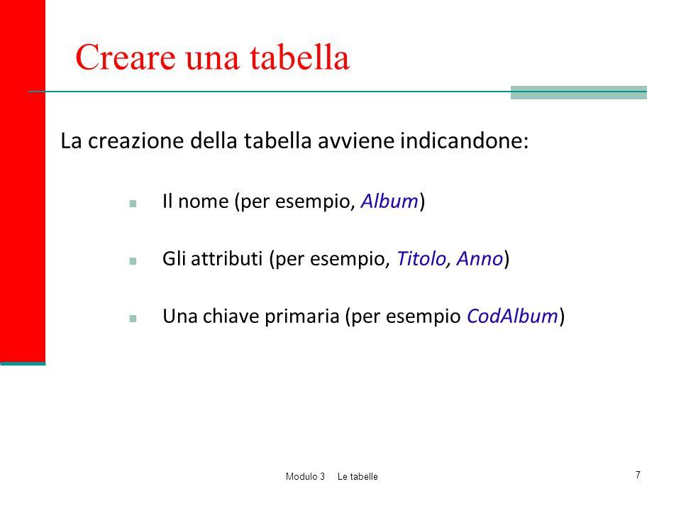 Creare una tabella La creazione della tabella avviene indicandone: Il nome (per esempio, Album) Gli attributi (per esempio, Titolo, Anno) Una chiave p