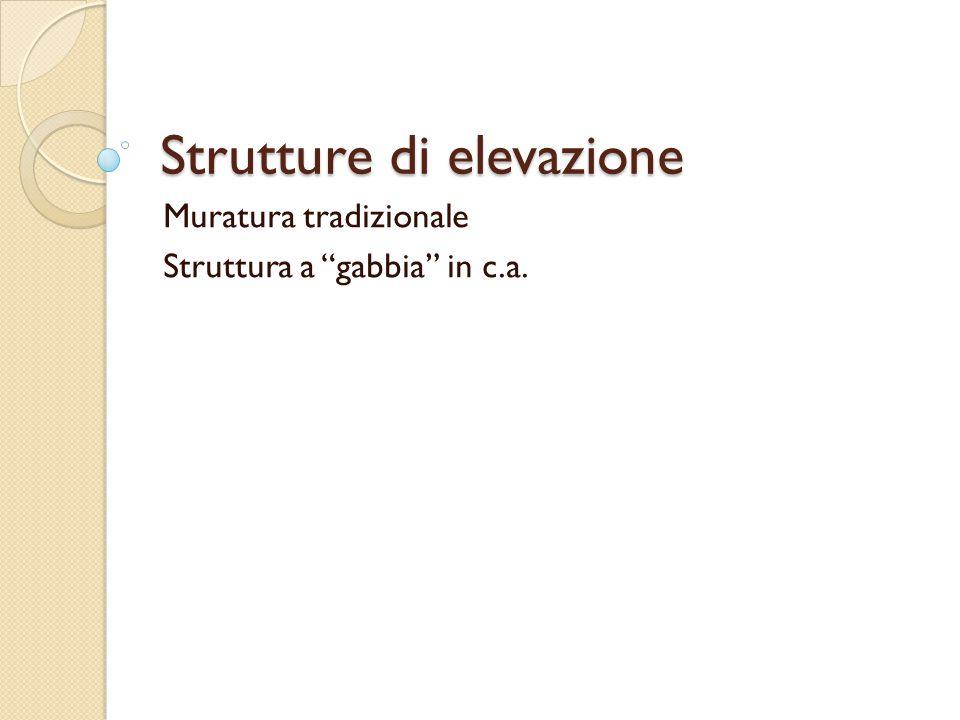 """Strutture di elevazione Muratura tradizionale Struttura a """"gabbia"""" in c.a."""