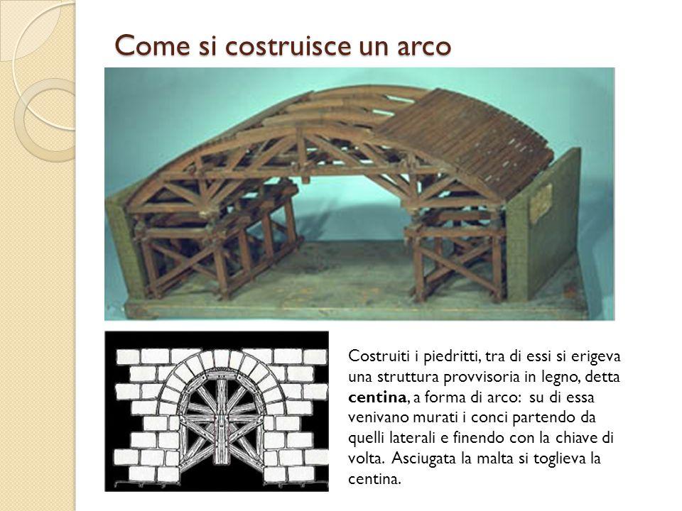Come si costruisce un arco Costruiti i piedritti, tra di essi si erigeva una struttura provvisoria in legno, detta centina, a forma di arco: su di ess