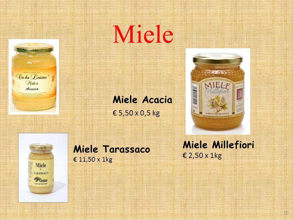 Miele Miele Acacia € 5,50 x 0,5 kg Miele Millefiori € 2,50 x 1kg Miele Tarassaco € 11,50 x 1kg 10