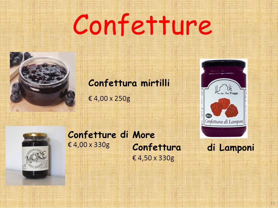 Confettura mirtilli € 4,00 x 250g Confetture € 4,00 x 330g di More Confettura € 4,50 x 330g di Lamponi 11 Confetture