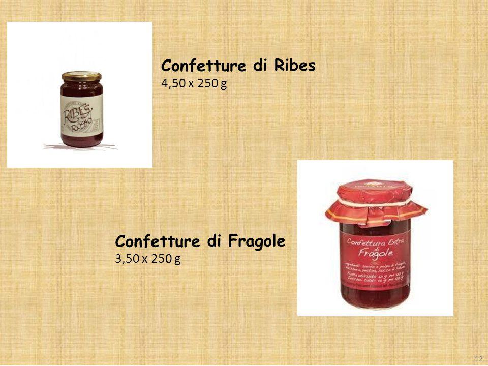 4,50 x 250 g di Ribes Confetture 3,50 x 250 g di Fragole 12