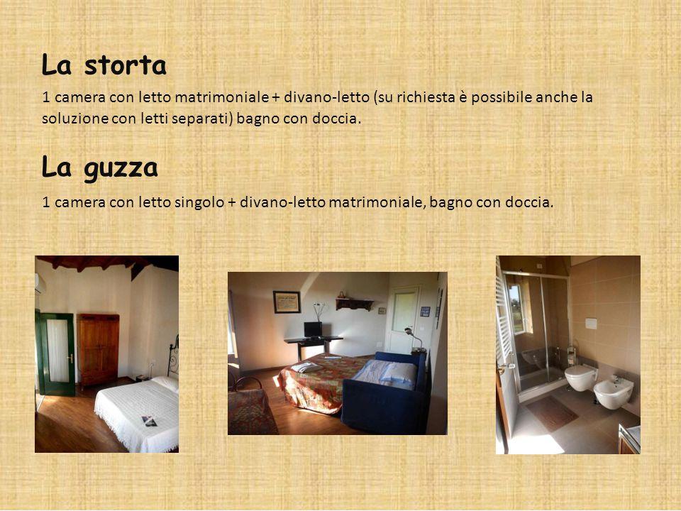 La storta 1 camera con letto matrimoniale + divano-letto (su richiesta è possibile anche la soluzione con letti separati) bagno con doccia. La guzza 1