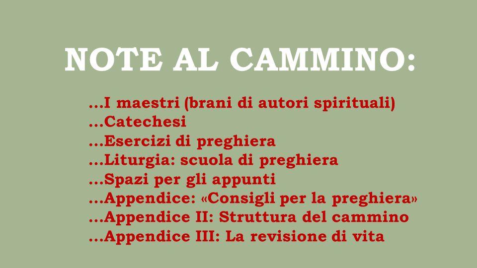 NOTE AL CAMMINO: …I maestri (brani di autori spirituali) …Catechesi …Esercizi di preghiera …Liturgia: scuola di preghiera …Spazi per gli appunti …Appe